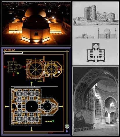 پلان مسجد کبود تبریز ؛ نقشه اتوکد مسجد کبود و اسکچاپ سه بعدی [DWG]