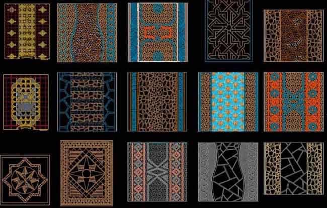 سنگ فرش و انواع مصالح کف سازی سایت ، بافت و تکسچر و طرح گچبری [Dwg]