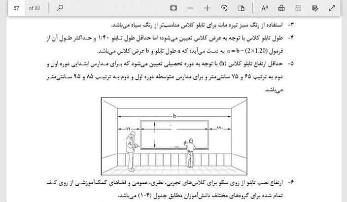 ضوابط طراحی مدرسه ؛ برنامه فیزیکی مدرسه و برنامه فیزیکی هنرستان [PDF]