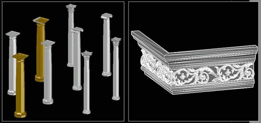 آبجکت نمای رومی ؛ دانلود آبجکت نمای کلاسیک و بلوک اتوکد نمای رومی [dwg] اتوکد سر ستون و آبجکت سه بعدی نمای رومی و اتوکد ستون رومی سه بعدی