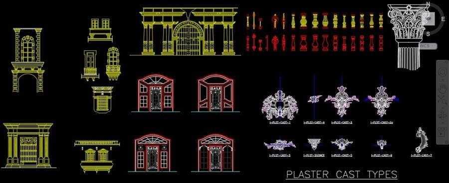 دانلود آبجکت نمای رومی و نمونه ستون رومی و سرستون رومی در قالب اتوکد