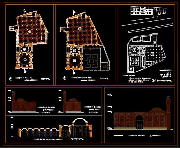 پلان مسجد ثقه الاسلام و نقشه صاحب الامر و نقشه مدرسه اکبریه [DWG]
